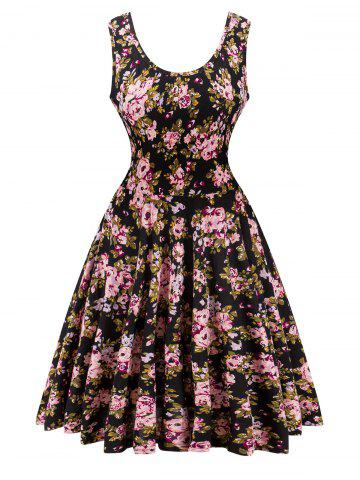 Discount Retro Style Knitted Floral Flare Dress