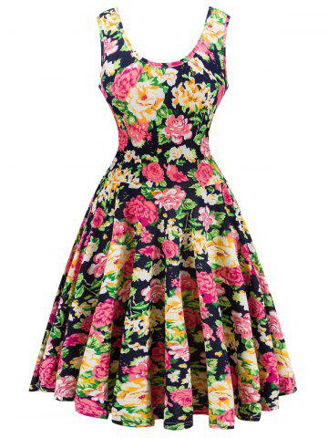 Shops Retro Style Knitted Flare Floral Dress