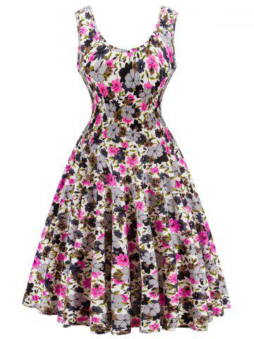 Unique Retro Style  Knitted  Floral Flare Dress