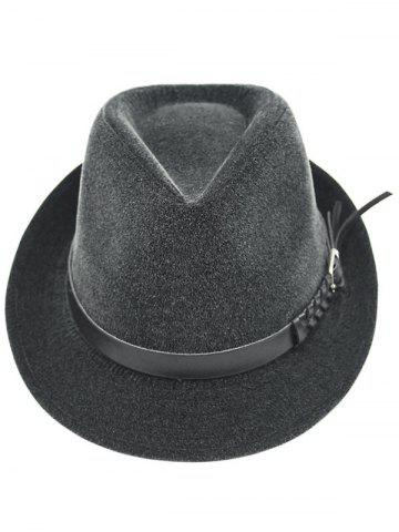 Outfits Pure Color Embellished Flanging Pin Buckle Belt Fedora Hat - DEEP GRAY  Mobile
