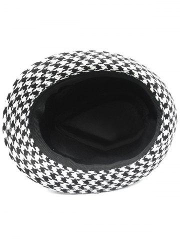 Chic Houndstooth Keep Warm Wool Belt Buckle Rivets Jazz Hat - BLACK  Mobile