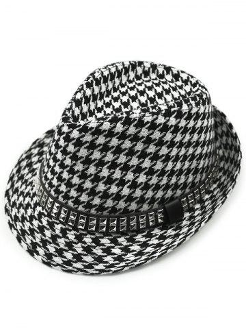 New Houndstooth Keep Warm Wool Belt Buckle Rivets Jazz Hat - BLACK  Mobile