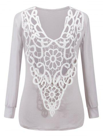 Online Two-Sides Wear See Through Crochet Top - LIGHT GRAY M Mobile