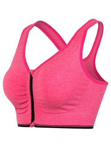 Affordable Genie Padded Racerback Zipper Front Running Sports Bra ROSE RED L