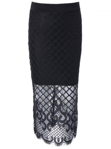 Affordable Lace Spliced Crochet Midi Skirt
