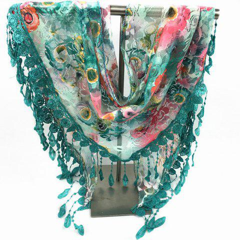 Shop Feather Pendant Flower Pattern Trim Lace Triangle Scarf - GREEN  Mobile