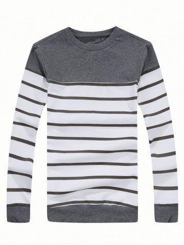 Shops Crew Neck Color Blocked Striped Sweatshirt GRAY 3XL