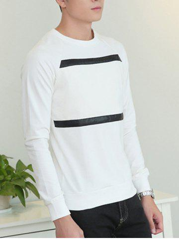 Affordable Faux Leather Spliced Crew Neck Sweatshirt