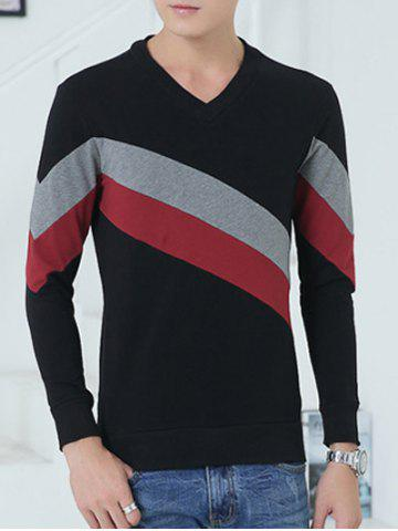 V-Neck Diagonal Striped Color Block Sweatshirt Rouge et Noir XL