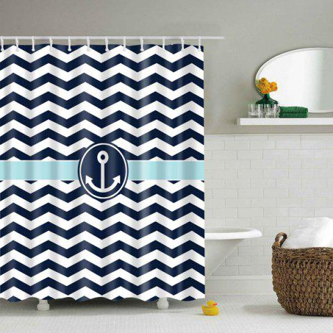 Latest Anchor Wave Stripe Waterproof Bathroom Shower Curtain