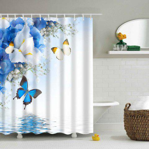 Fashion Waterproof Flower Butterfly Polyester Shower Curtain
