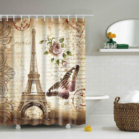 Fashion Retro Eiffel Tower Floral Printed Mouldproof Shower Curtain - L COLORMIX Mobile