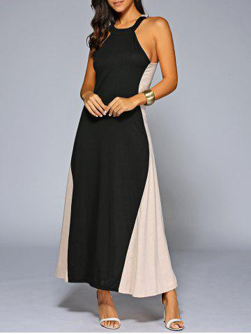 Sale Color Block Jewel Neck Sleeveless Maxi Dress