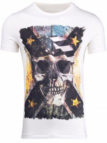 Sale Skull 3D Print Round Neck Short Sleeve T-Shirt