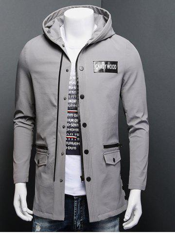 Chic Patch Design Zippered Snap Button Hooded Coat GRAY 3XL