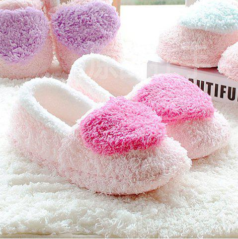 Online Colour Block Heart Pattern Fur Slippers - SIZE(38-39) ROSE RED Mobile
