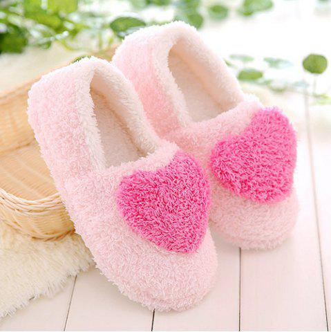 New Colour Block Heart Pattern Fur Slippers - SIZE(38-39) ROSE RED Mobile
