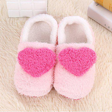 Shop Colour Block Heart Pattern Fur Slippers - SIZE(38-39) ROSE RED Mobile