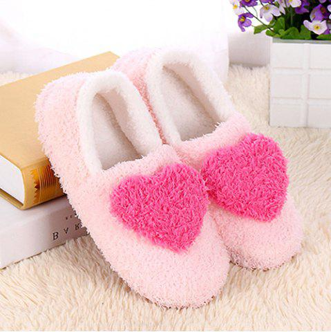Shop Colour Block Heart Pattern Fur Slippers - SIZE(40-41) ROSE RED Mobile