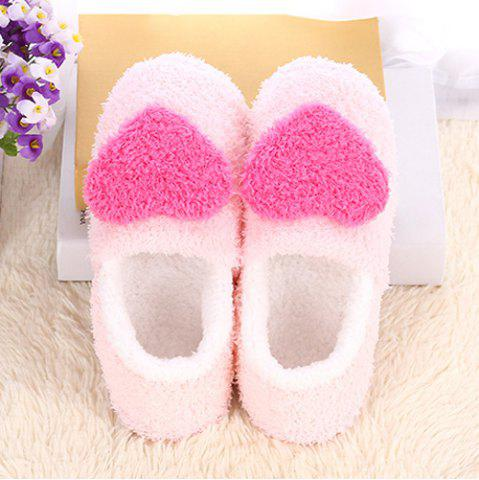 Online Colour Block Heart Pattern Fur Slippers - SIZE(40-41) ROSE RED Mobile