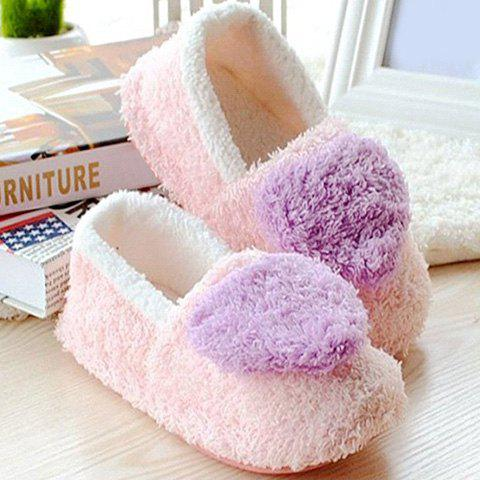 Outfit Colour Block Heart Pattern Fur Slippers - SIZE(36-37) PURPLE Mobile