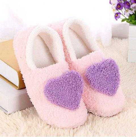 Outfit Colour Block Heart Pattern Fur Slippers - SIZE(38-39) PURPLE Mobile