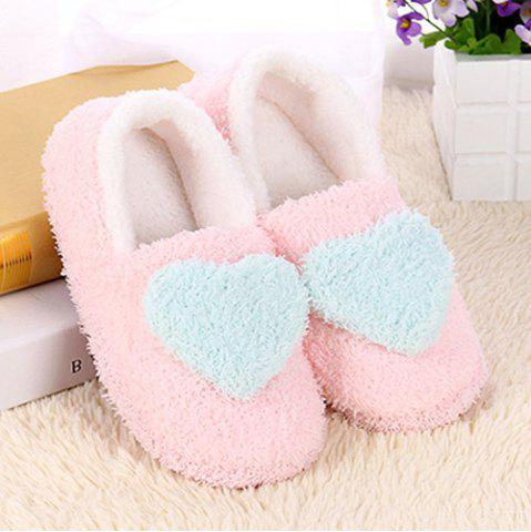 Affordable Colour Block Heart Pattern Fur Slippers
