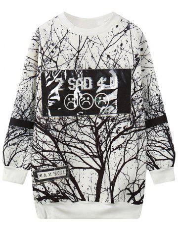 Sale Round Neck Tree Branch Print Sweatshirt