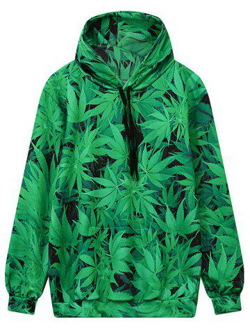 Unique Hooded Front Pocket Leaf Print Green Hoodie