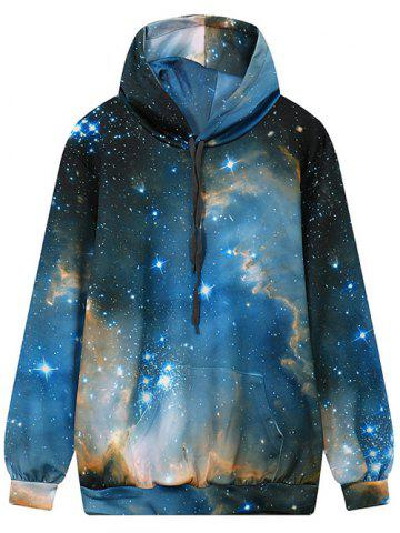 Cheap Front Pocket Hooded Galaxy Hoodie MULTI L