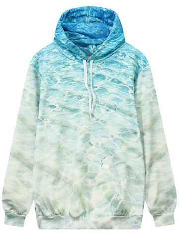 Buy Front Pocket Wave Pattern Outerwear Hoodie