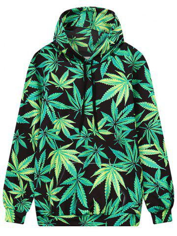 Store Front Pocket Leaf Print Outerwear Hoodie BLACK/GREEN L