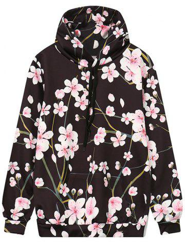 Buy Front Pocket Floral Print Outerwear Hoodie