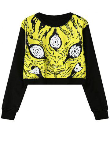 Store Round Neck Abstract Print Cropped Sweatshirt