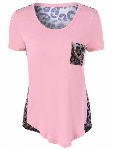 Outfit U-Neck Leopard Print T-Shirt - SHALLOW PINK 2XL Mobile