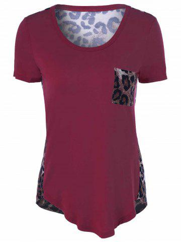 Cheap U-Neck Leopard Print T-Shirt