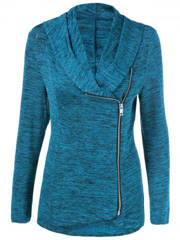 Sale Zipper Up Heathered Blouse - S SAPPHIRE BLUE Mobile