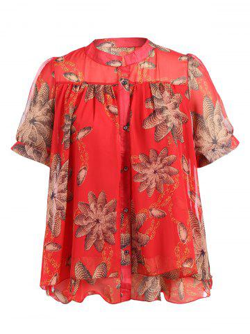 Shops Stand Neck Short Sleeve Printed Chiffon Shirt
