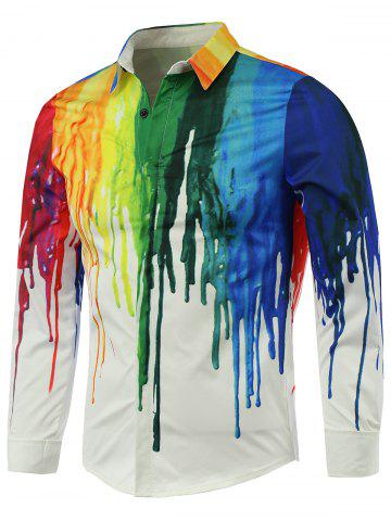 Colorful Paint Dripping Print Covered Button Front Long Sleeve Shirt - White - L