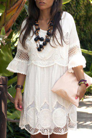 Discount Fashionable Scoop Neck 3/4 Sleeve Lace Splicing Dress For Women