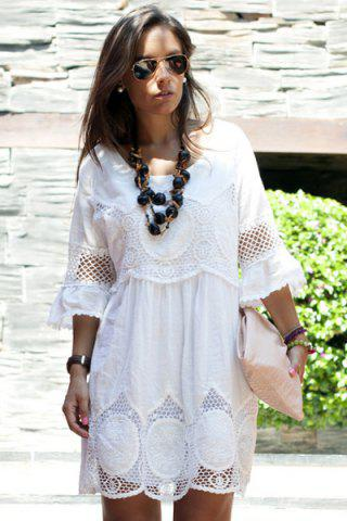 Fashion Fashionable Scoop Neck 3/4 Sleeve Lace Splicing Dress For Women - L WHITE Mobile