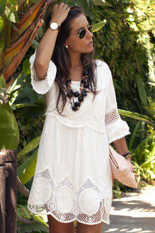 Hot Fashionable Scoop Neck 3/4 Sleeve Lace Splicing Dress For Women - L WHITE Mobile