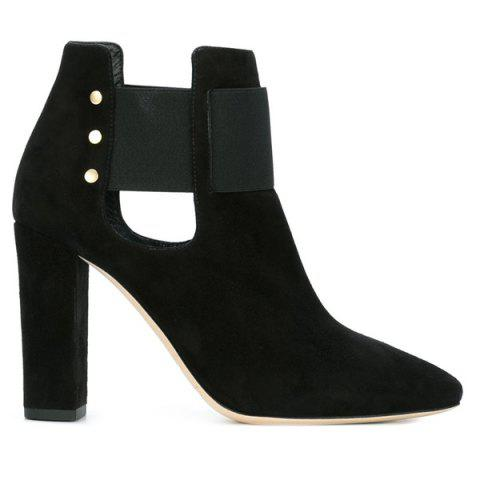 Hot Suede Pointed Toe Cut Out Ankle Boots