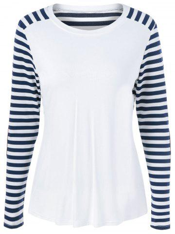Hot Striped Elbow Sleeve T-Shirt BLUE AND WHITE XL