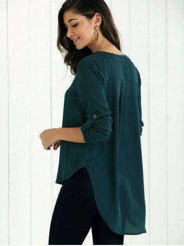 V Neck High-Low Blouse - Blackish Green - L