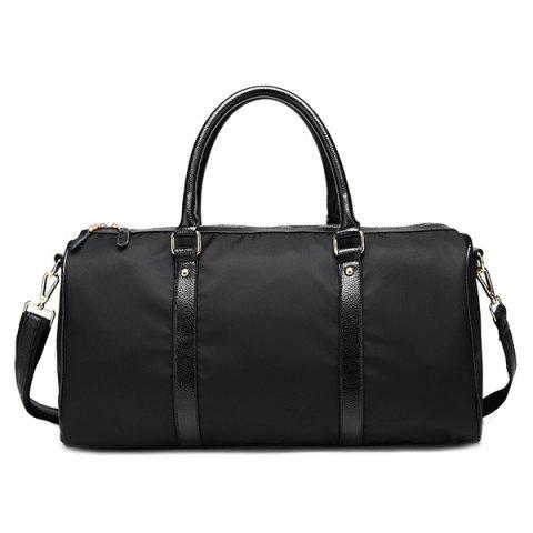 Trendy Zip PU Spliced Nylon Weekend Bag - BLACK  Mobile