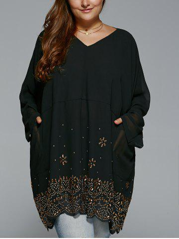 Fancy Plus Size V Neck Rhinestone Long Blouse