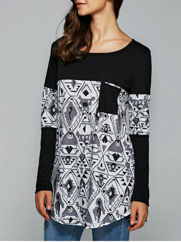 Fashion Pocket Tribal Print Long Sleeve T-Shirt