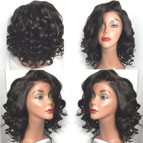 Cheap Short Wavy Side Parting Lace Front High Temperature Fiber Wig BLACK
