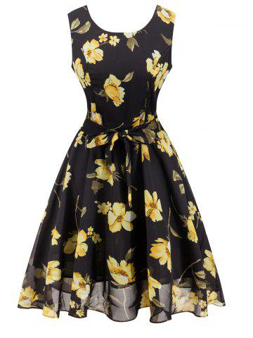 Shop Chiffon Floral Knee Length Belted Flare Dress BLACK 2XL